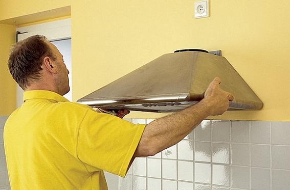 Монтаж кухонной вытяжки на стену