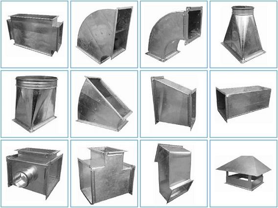 Составные части прямоугольного воздуховода