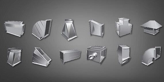 Элементы прямоугольного воздуховода