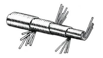 Распушивание кончик металлического сердечника
