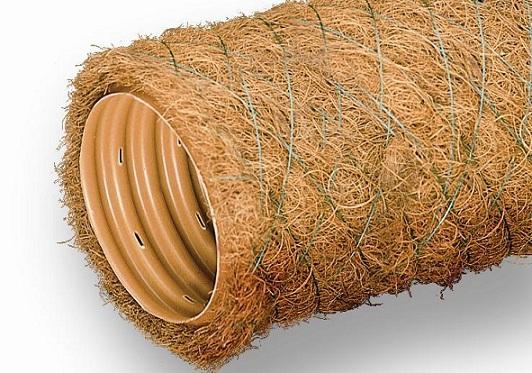 Дренажная труба с фильтром из кокосового волокна