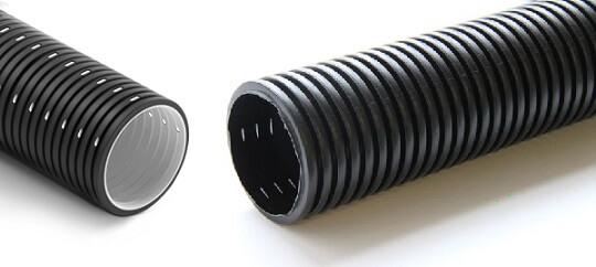 Черные гофротрубы с перфорацией