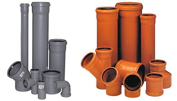 Внутренние и наружные трубы канализации