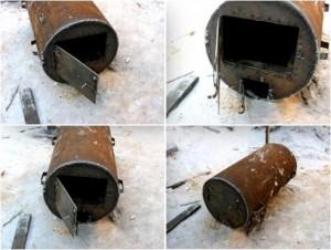 Горизонтальная печь для бани из трубы 530