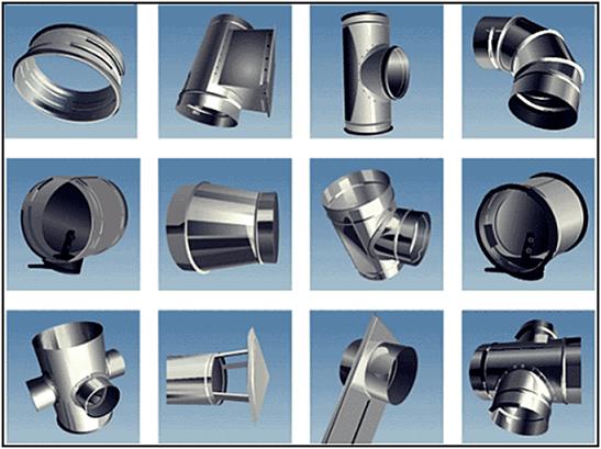 Составные элементы стального воздуховода